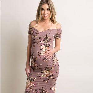 Purple Floral Off Shoulder Wrap Maternity